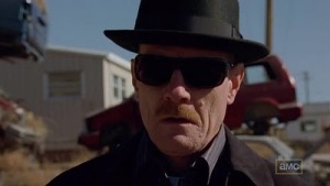 Walter White dressed as Heisenberg, still showing a little Walter-White-style panic.