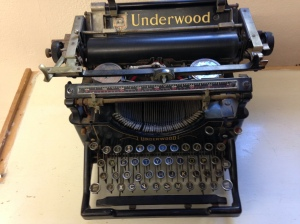 One of Geoff Gevalt's typewriters on display at the new venue.